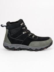 Pánske čierne kožené trekové topánky