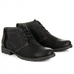 Pánske čierne kožené zateplené členkové topánky