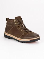 Pánske hnedé kožené topánky