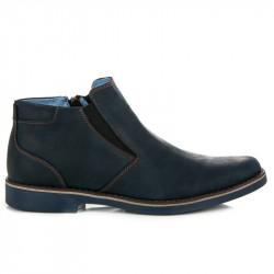 Pánske modré kožené členkové topánky so zipsom