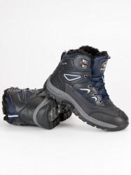 Pánske modré zimné členkové topánky so šnurovaním