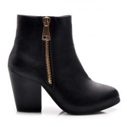 Parádne čierne členkové dámske topánky s módnym zipsom