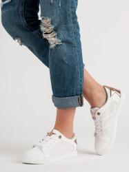 Pekné biele dámske  tenisky bez podpätku