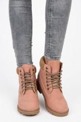 Pekné  členkové topánky ružové dámske bez podpätku