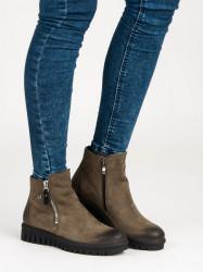 Pekné dámske zelené  Členkové topánky bez podpätku