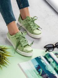 Pekné zelené  tenisky dámske bez podpätku
