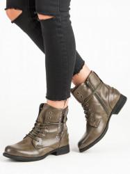 Pohodlné dámske zelené  Členkové topánky na plochom podpätku
