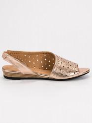 Pohodlné dámske zlaté  sandále bez podpätku #1