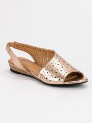 Pohodlné dámske zlaté  sandále bez podpätku #2