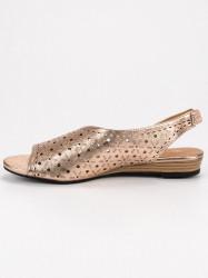 Pohodlné dámske zlaté  sandále bez podpätku #3