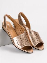 Pohodlné dámske zlaté  sandále bez podpätku #4