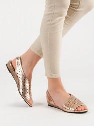 Pohodlné dámske zlaté  sandále bez podpätku #5