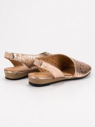 Pohodlné dámske zlaté  sandále bez podpätku #6