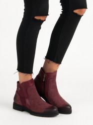 Pohodlné kožené vínové členkové topánky