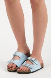 Pohodlné modré semišové šľapky so sponami