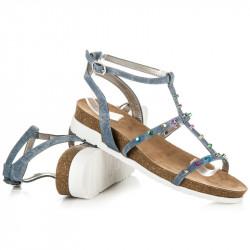 Pohodlné šedé sandále na kline s cvočkami