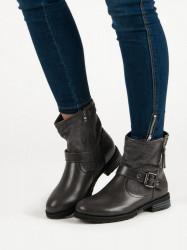 Pohodlné strieborné  Členkové topánky dámske na plochom podpätku