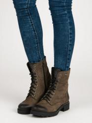 Praktické  Členkové topánky zelené dámske na plochom podpätku