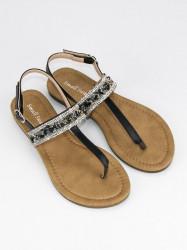 Romantické čierne sandále s trblietavým pásikom