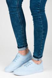 Semišové modré ažúrové tenisky s viazaním na šnúrky