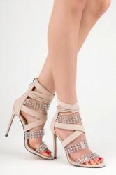 Sexy béžové sandále na vysokej ihle s kamienkami