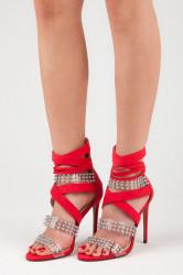 Sexy červené sandále na vysokej ihle s kamienkami