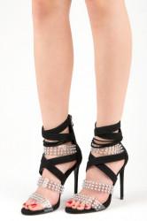 Sexy čierne sandále na vysokej ihle s kamienkami
