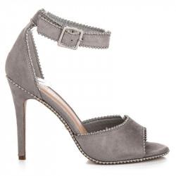 Sexy šedé sandále na vysokej ihle zdobené kamienkami