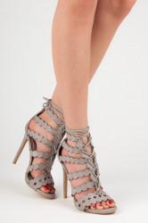 657cf1598b8d Sexy šedé sandále na vysokom ihlovom podpätku
