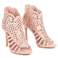 Sexy semišové ružové sandále na ihličkovom podpätku