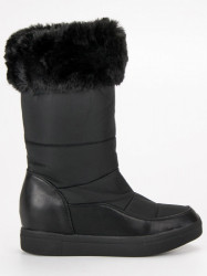 Štýlové čierne snehule s kožušinkou