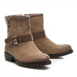 Štýlové  Členkové topánky dámske hnedé na plochom podpätku