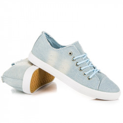Suprovní šněrovací modré džínové tenisky - Dámske členkové tenisky ... 510dd46ef4f