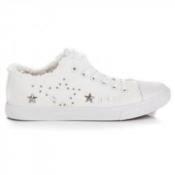 Textilné biele tenisky s hviezdičkami