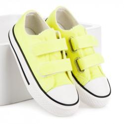 Textilné žlté detské tenisky na suchý zips