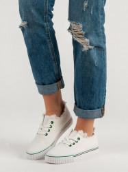 Trendy biele dámske  tenisky bez podpätku