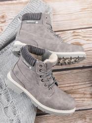 Trendy dámske  členkové topánky strieborné na plochom podpätku