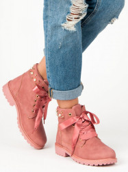 Trendy dámske ružové   na plochom podpätku