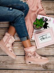 Trendy dámske ružové  snehule bez podpätku