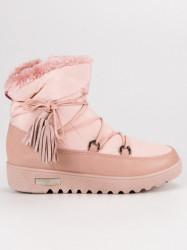 Trendy dámske ružové  snehule bez podpätku #1