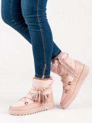 Trendy dámske ružové  snehule bez podpätku #2