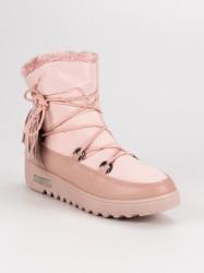 Trendy dámske ružové  snehule bez podpätku #3