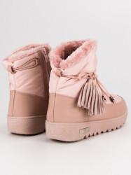 Trendy dámske ružové  snehule bez podpätku #4