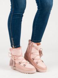Trendy dámske ružové  snehule bez podpätku #5