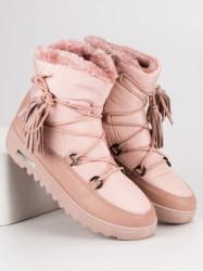Trendy dámske ružové  snehule bez podpätku #6