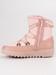 Trendy dámske ružové  snehule bez podpätku #7