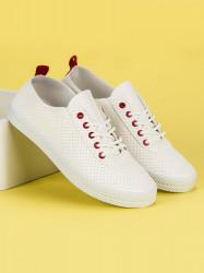 Trendy dámske  tenisky biele bez podpätku