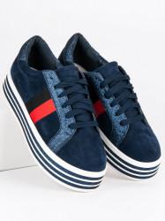 Trendy modré tenisky na platforme #1