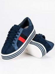 Trendy modré tenisky na platforme #5