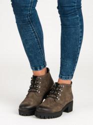 Trendy zelené  Členkové topánky dámske na širokom podpätku